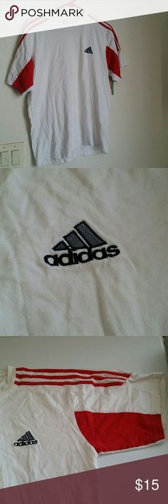 Balck and red, male t-shirt Nice material, good condition just like new Adidas Tops Tees - Short Sleeve