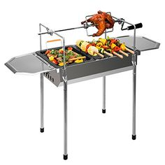 "Pinty 20"" Portable Charcoal Grill Stainless Steel Barbecue BBQ Grill with Rotisserie Forks Kit >>> Visit the image link more details."