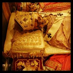 This is a bit scary....Relics of St. Ambrose of Milan, with Saints Gervasius and P
