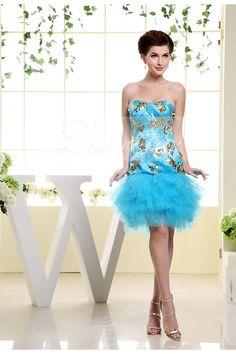 Ice Blue Sheath Strapless Short Length Satin Sequins Tulle Prom Dress