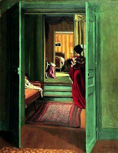 Intérieur avec femme en rouge de dos, 1903.
