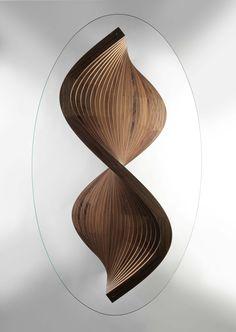 Sidewinder sculptural coffee table top view by David Tragen.  http://davidtragen.co.uk/portfolio/sidewinder-sculptural-coffee-table/
