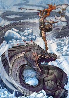 A Valkiry figthing agisnt Jörmungandr the serpent that surrownds the word in Nordic mitology. Thor, Loki, Fantasy Warrior, Fantasy Art, Manara Milo, Dragons, Myths & Monsters, Asgard, Viking Art