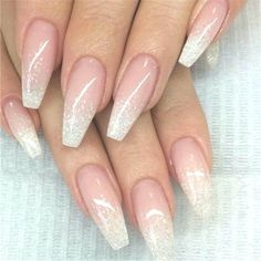 French Fade With Nude And White Ombre Acrylic Nails Coffin Nails French Ombre Nails with Gold Glitter; Bridesmaid Nails Acrylic, Bridesmaids Nails, Blue Wedding Nails, Wedding Nails Design, Burgundy Wedding, Gold Glitter Nails, Sparkle Nails, Bride Nails, Prom Nails