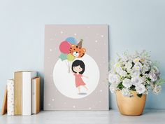Fly with the balloons - Children's Art Digital Print