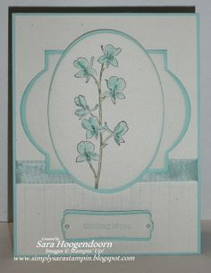 handmade card from Simply Sara Stampin' ... white and aqua ... like the way two layered die cuts from different sets work together ... oval and windows ... embossing folder stripes add to the texture ... sweet card ... Stampin' Up!