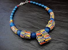 Tribal Necklace Ethnic Choker African Beaded by ElPourElle on Etsy