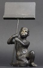 Maitland Smith Bronze Monkey Bellhop w Cap Envelope Letter Business Card Holder