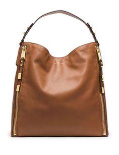 MICHAEL KORS Large Miranda Zipper Shoulder Bag, Luggage