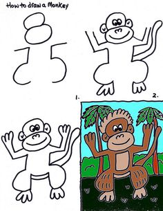 How to Draw a Monkey - Art lessons for Kids by Stushie-Rousseau-face is right, but bodybis weird Teaching Drawing, Drawing Activities, Drawing Lessons, Teaching Art, Art Drawings For Kids, Kids Artwork, Drawing For Kids, Easy Drawings, Art Lessons For Kids