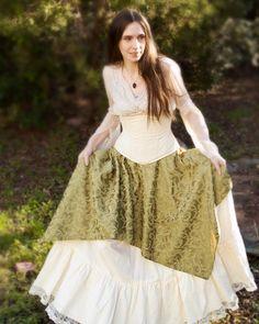Sage Green Pixie Skirt Renaissance Costume by CrystalKittyCat, $64.00
