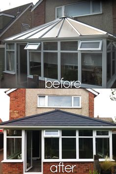 Beautiful Before and Afters; Installations of Supalite Roofing: A Fantastic Light-weight Solution offering a Solid Tiled Effect Roofing option to your Conservatory, not only Does it Transform your Conservatory into a usable, all-year-round space, it adds an energy efficient solution, compared to that of a Traditional Glass or Poly-Carb Conservatory Roof! Conservatory Lighting, Conservatory Extension, Conservatory Ideas, Roofing Options, Roofing Systems, Exterior Design, Interior And Exterior, Cosy Room, Door Canopy