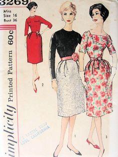 SIMPLICITY 3269 PATTERN 1960s COCKTAIL EVENING DRESS, 3 BODICE STYLES