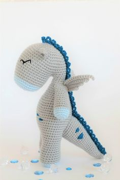 Crochet Amigurumi Button the Dragon Stuffed Animal PDF PATTERN