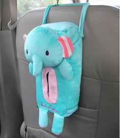 Cute Cartoon Green Elephant Plush Car Tissue Box Cover w Strap Suspension Type   eBay