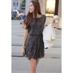 $10.32 Casual Style Scoop Neck Flounce Ruffle Print Sleeveless Dress For Women