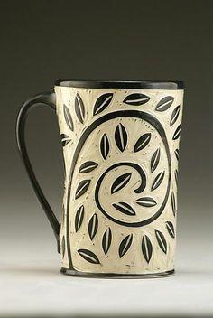 """""""Vine and Leaf Mug""""  Ceramic Mug  Created by Jennifer Falter"""