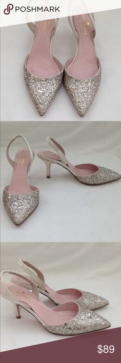 1629c30a9a2f Kate Spade Sparkly Silver White Sling Heels Silver glitter sparkle Sling  heels - very sweet