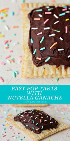 These Easy Pop Tarts with Nutella Ganache are quick and fun to make for breakfast or a snack. Whip up a batch today! #breakfast #brunch #snack #poptarts #nutella #handpie Delicious Breakfast Recipes, Best Dessert Recipes, Fun Desserts, Sweet Recipes, Delicious Desserts, Snack Recipes, Yummy Food, Pie Recipes, Yummy Recipes