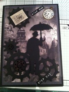 card for a step dad . love tim holtz umbrella man and odessa sky kanban background