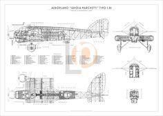 Aeroplano S.I.A.I. Marchetti S.81-Cod. S81-70x50 TRE VISTE