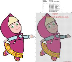 Simple full stitch free cross stitch pattern Masha from Masha And The Bear cartoons