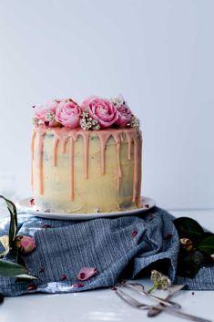 lemon, almond, and raspberry layer cake