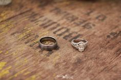 antique wedding rings on an old barrel. Click to see high resolution. Photo by Emily Drouin Photography. Facebook: Emily Drouin Photography. Ontario, Canada.