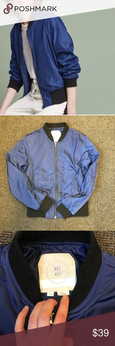 Anthropologie Hei Hei Juneworthy Bomber Jacket A true standout piece - bright blue bomber moto jacket with black banding. Very good condition - minor pilling on the banding. Bright blue. Very boho grunge moto chic. Anthropologie Jackets & Coats