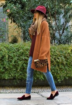 Wine-coloured fall: Hat, top, and loafers, with oversized cardi. LOVE