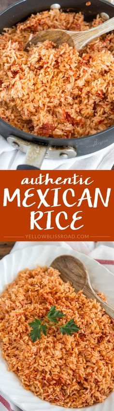 Authentic Mexican Rice - as close to restaurant taste as you can get! Mexican Dishes, Mexican Food Recipes, Rice Recipes, Vegetarian Mexican, Mexican Drinks, Mexican Desserts, Easy Recipes, Vegetarian Recipes, Freezer Recipes