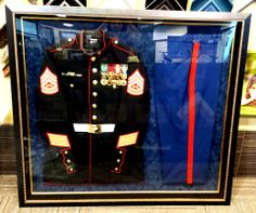 With Pictures Plus' help, this Marine's uniform was custom framed by his wife to honor his years of service. We love how it turned out!