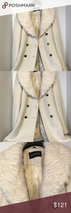 Guess  Coat This double-breasted boucle coat is the picture of sophisticated style with its shiny buttons and faux-fur collar. Guess brand jacket has an ageless attitude and a slim, modern fit. Guess Jackets & Coats Pea Coats