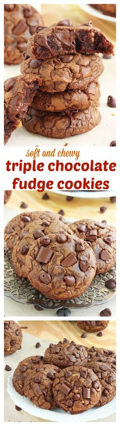 A chocolate lover's dream come true, these chocolate fudge cookies are soft, slightly chewy and packed with over a pound of chocolate! That's over 1 ounce of chocolate in each cookie! Cookie Desserts, Just Desserts, Cookie Recipes, Delicious Desserts, Dessert Recipes, Yummy Food, Gourmet Cookies, Fudge Recipes, Candy Recipes