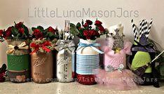 Wizard of Oz mason jars quart sized mason jars Dorothy Tin Mason Jar Diy, Mason Jar Crafts, Glenda The Good Witch, Wizard Of Oz Decor, Jar Art, Alice In Wonderland Party, 40th Birthday, Birthday Ideas, The Wiz