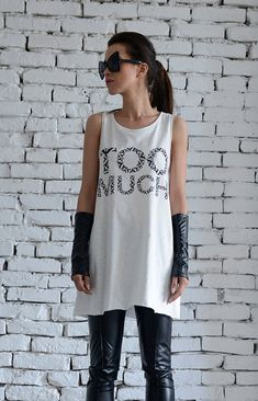 NEW White Casual Top/Too Much To Do T-Shirt/Loose by Metamorphoza