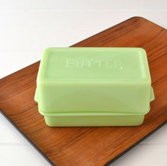 Jadeite Butter Dish - Jadite - Embossed Lid - 1 Pound Glass Butter Dish - Jeannette Glass via Etsy
