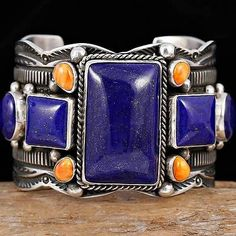 A+ GUY HOSKIE Navajo Natural LAPIS LAZULI Bracelet Sterling Silver