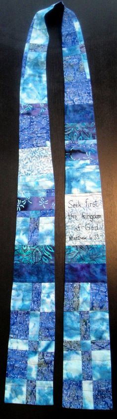 Blue Reversible Quilted Art  Ministerial Clergy Pastor Stole Seek First The Kingdom Of God. Idea