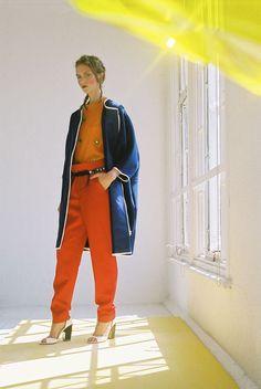 PHOENIX MAGAZINE Coat L F MARKEY, Jumper TRINE LINDEGAARD, Red trousers Á La Disposition, Belt MAISON SCOTCH ,Shoes Vintage, Earrings JEN CH...