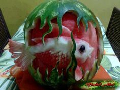 watermelon carving of a fish