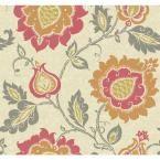 Carey Lind Vibe Jaco Floral Wallpaper, Beige/Pink/Persimmon Orange/Mustard Yellow/Steel Grey