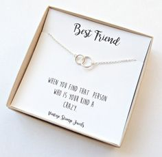 This Best Friends Necklace is the perfect gift for any friend! This listing is for 1 necklace. It is made from all sterling silver or Gold filled materials. It can be worn in the water and will not fade or taint your skin. **The Best Friend Box card shown in the first photo will Best Friend Cards, Best Friend Gifts, Best Friend Quotes, Gifts For Friends, Best Friends, Bff Quotes, Best Friend Necklaces, Best Friend Jewelry, Bestfriend Necklaces For 2