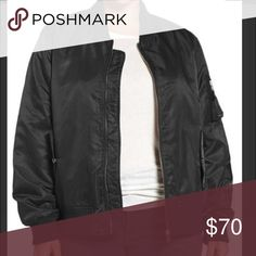 Flight Side Zip Bomber Jacket (Plus Size) Color sold out everywhere. NWT. Steve Madden. Zipped sides update a lustrous satin bomber jacket with the freedom of an adjustable fit, while snug ribbing and plenty of pockets keep the on-trend style true to its retro-cool inspiration. Color: black/ orange lining on the inside. Size 2x is equivalent to 16/18 Steve Madden Jackets & Coats