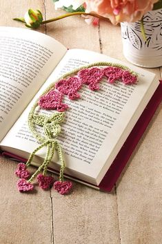 Bleeding Heart Bookmark - Crochet for a Quiet Evening (Crochet! magazine Special Issue) - Photo courtesy of Annie's - Available 8/20 www.crochetmagazine.com