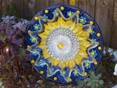 Garden Yard Art glass and ceramic plate flower