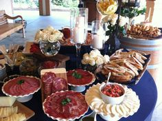 Italian Antipasto display with Cured Meats, Artisan Cheeses, Fresh Bread and Jumbo Shrimp. // By: Canards Catering and Event Production // http://canardscatering.com