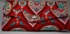 Necessary Clutch Wallet  Red Floral Design by BusyBirdee on Etsy