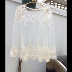 "Spotted while shopping on Poshmark: ""NEVER SEEN PRETTIER, DRESSY BLOUSE. ONLY TWO AVAIL""! #poshmark #fashion #shopping #style #Imported boutique #Tops"