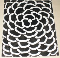 Original Pen and Ink Drawing ACEO Black and White Flower Design. $10.00, via Etsy.